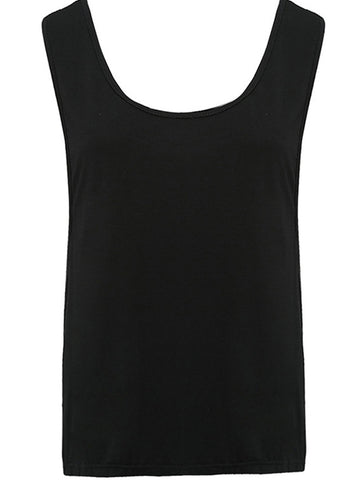 Strappy Round Neck Plain Sleeveless T-Shirt