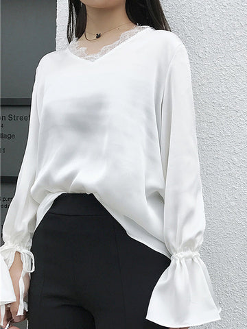 White Loose Lace Patchwork Bell Sleeve Long Sleeve T-Shirt