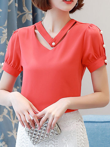 V-Neck Faux Pearl Plain Blouse