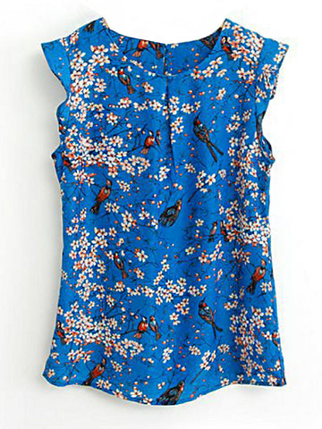 Round Neck Floral Printed Sleeveless T-Shirt