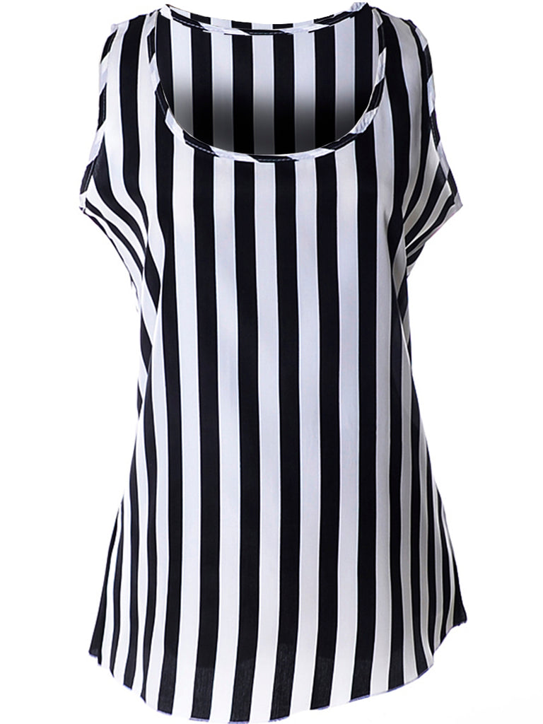 60196f4228647a Cheap Black White Vertical Striped Round Neck Sleeveless T-Shirt ...