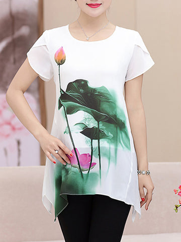 Asymmetric Hem Printed Petal Short Sleeve T-Shirt