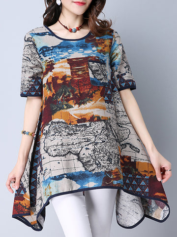 Asymmetric Hem Graffiti Round Neck Short Sleeve T-Shirt