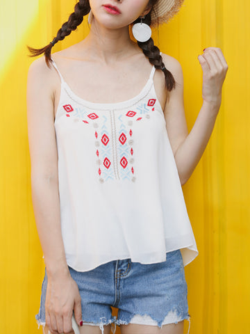 Adjustable Spaghetti Strap Embroidery Chiffon Sleeveless T-Shirt