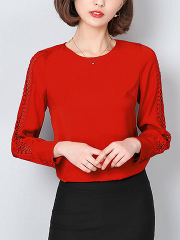 Chic Hollow Out Plain Round Neck Blouse
