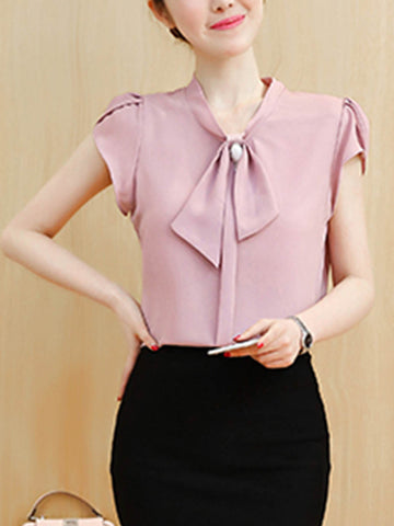 Decorative Button Plain Petal Sleeve Blouse