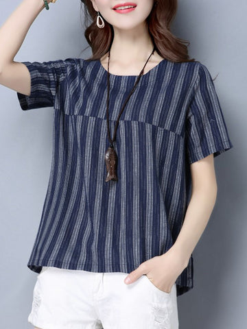 Vertical Striped Round Neck Short Sleeve T-Shirt
