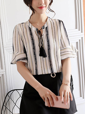Vertical Striped Bell Sleeve Tie Collar Blouse