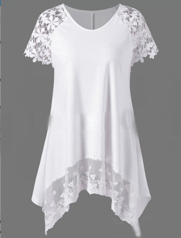 Round Neck Decorative Lace Patchwork Plain Short Sleeve T-Shirt