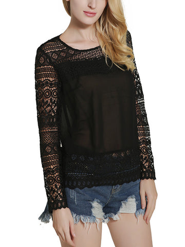 Absorbing Solid Patchwork Hollow Out Round Neck Blouse