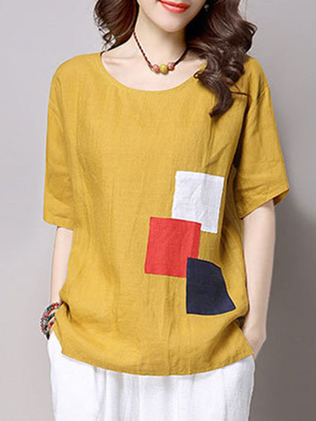 Round Neck Color Block Patch Short Sleeve T-Shirt