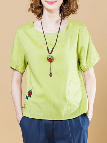 Applique Round Neck Patch Pocket Short Sleeve T-Shirt