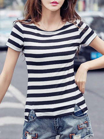 Vented Striped Round Neck Short Sleeve T-Shirt
