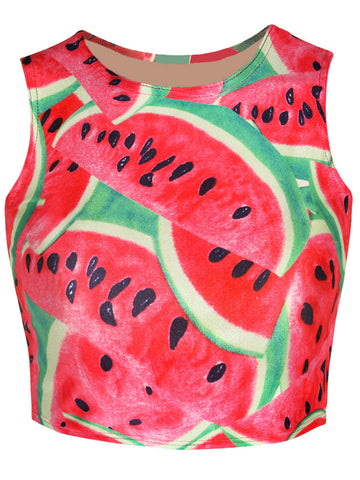 Watermelon Printed Cropped Sleeveless T-Shirt