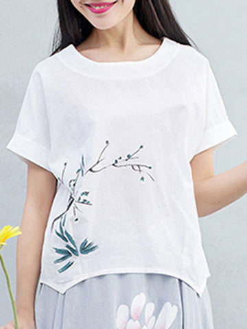 Asymmetric Hem Printed Round Neck Short Sleeve T-Shirt