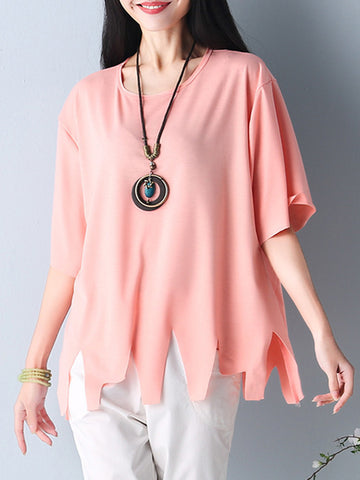 Asymmetric Hem Plain Short Sleeve T-Shirt