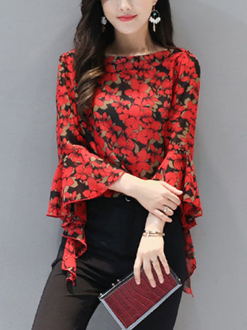 Allover Floral Boat Neck Bell Sleeve Blouse