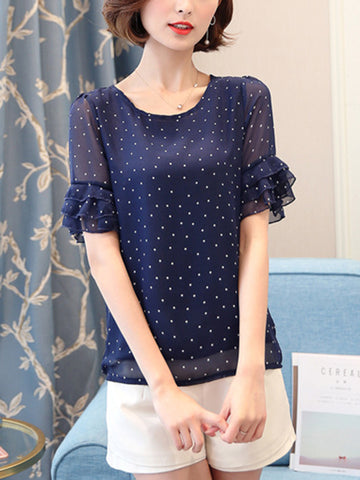 Round Neck  Polka Dot  Bell Sleeve Blouse