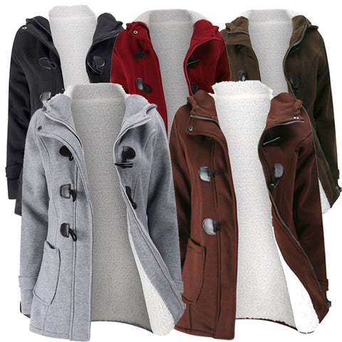 New Women Horn Buttons Long Sleeve Hooded Thicken Coats