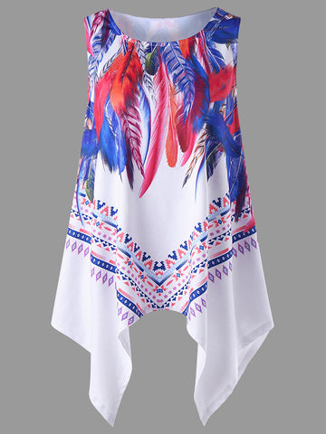 Asymmetric Hem Feather Printed Sleeveless T-Shirt