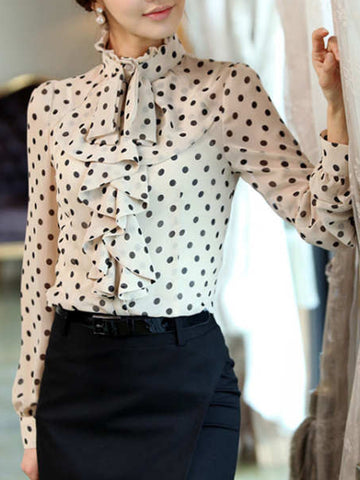 Band Collar  Flounce  Polka Dot Blouse