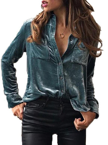 Solid Plain Patch Pocket Velvet Blouse