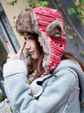 Lucky Deer Print Red Thick Knit Hats