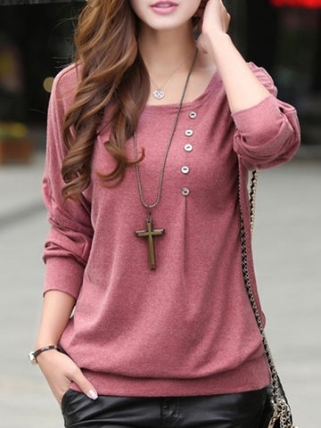 Designed Round Neck  Batwing Plain Long-Sleeve-T-Shirt