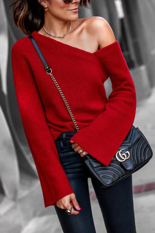 Loverchic Sexy One-shoulder Knit Sweater