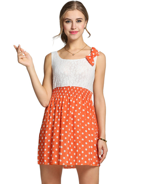 Polka Dot Bow Mini Lace Patchwork Dress