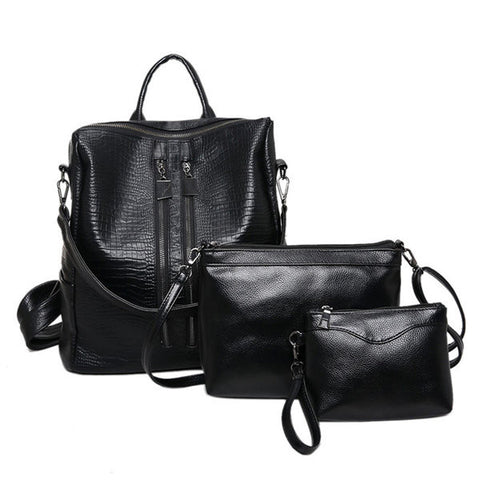 3PCS PU Leather Black Backpack Clutch Crossbody Bag Shoulder Bags For Women