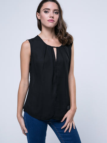 Hollow Out Plain Crew Neck Sleeveless T-Shirt