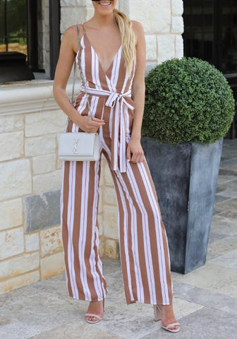 White Striped Sashes Tie Back Spaghetti Strap Belt Backless V-neck Going out Long Jumpsuit