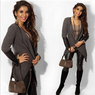New Women Grey Patchwork PU Leather Turndown Collar Long Sleeve Casual Coat