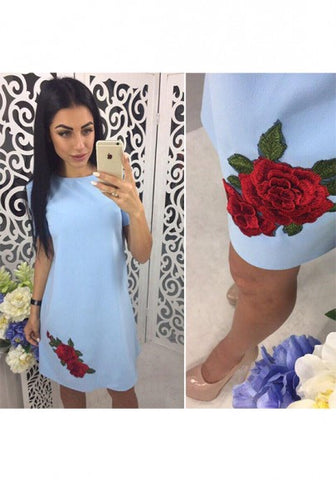 Blue Patchwork Appliques Round Neck Casual Mini Dress