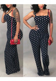Black Polka Dot Spaghetti Strap Off Shoulder Backless One Piece Sweet Party Long Jumpsuit