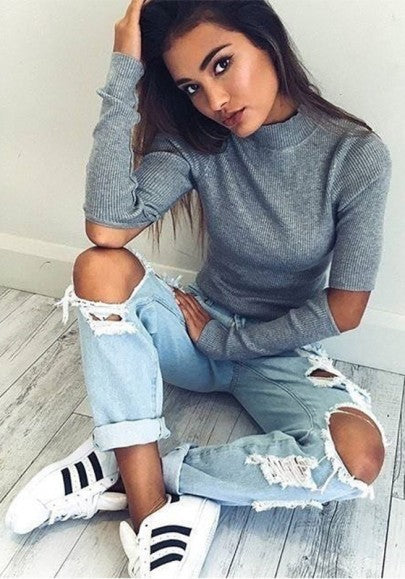 New Women Grey Plain Cut Out High Neck Streetwear Cotton Pullover Sweater