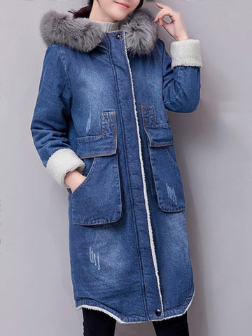 Casual Big Pockets Fluffy Hooded Women Denim Thick Jackets