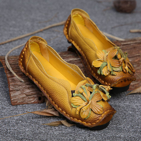 Genuine Leather Handmade Flower Loafers Soft Flat Casual Shoes
