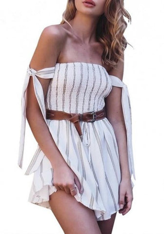 2018 White Striped Draped Drawstring Lace-up Off Shoulder Backless Sweet Short Jumpsuit