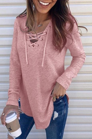 New Loverchic Lace Up Neckline Solid Color Long Sleeve Blouse