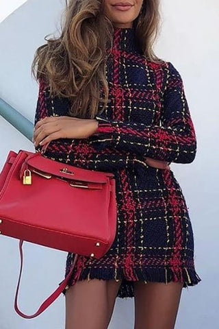 Loverchic Fashion Long Sleeve Plaid Mini Dress