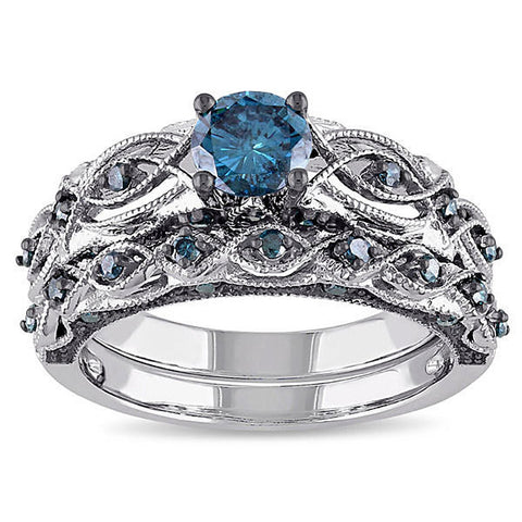 Elegant Platinum Blue Zircon Gemstone Rings 2Pcs Combined Sets Wedding Rings for Women