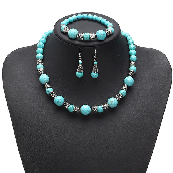 JASSY® Ethnic Women Jewelry Set Platinum Plated Turquoise Beads Necklace Bracelet Earrings