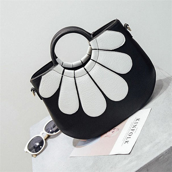 Stylish Flower Pattern PU Leather Handbag Shoulder Bag Crossbody Bags For Women