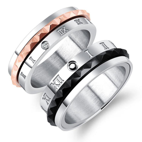 Trendy Rotatable 316L Stainless Steel Zircon Titanium Rome Digital Matching Couple Rings