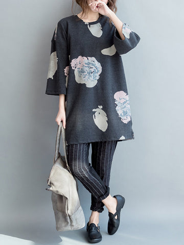 Casual 3/4 Sleeves Printed O-neck Dress For Women
