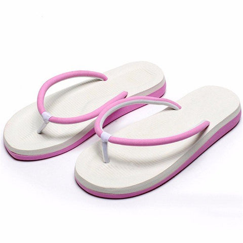 Candy Color Mactching Flat Beach Clip Toe Slippers