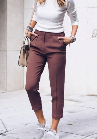 Wine Red Pockets Elastic Waist Casual Nine's Pants