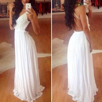 2017 New Women White Crochet Lace Condole Belt Backless Splicing Draped V-neck Wedding Dress
